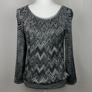 INC International Concepts Silver and Black Top